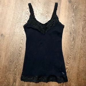 Abercrombie & Fitch Blue Navy Lace Tank Top